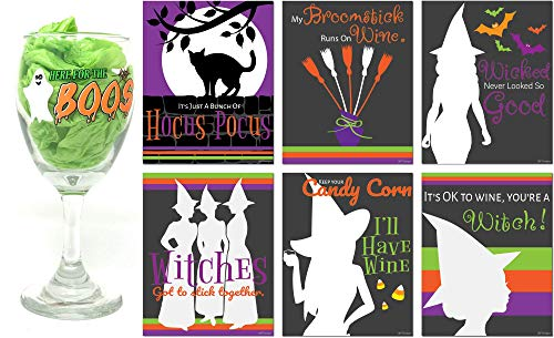 Halloween Witch Wine Glass with Wine Bottle Labels set, 10 oz Witch themed Wine Glasses, Wine Lovers Gift Set, Wine Glass with Funny Wine Sayings for gifts (Here for the boos)