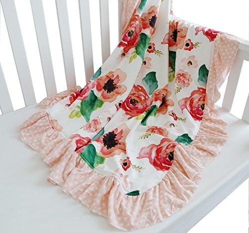 Sahaler Floral Minky Blanket Baby Girl Dot Ruffle Blankets Infants Toddlers Girl's Soft Throw Comfortable, (Coral) from Sahaler