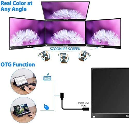 PORTABLE MONITOR SZOON 13.3 INCH 2K 2560×1440 COMPUTER DISPLAY USB C GAMING MONITOR IPS SCREEN VESA MOUNT TYPE-C AND MINI HDMI INPUT FOR PS3 PS4 XBOX RASPBERRY PI LAPTOP PC MAC, INCLUDE SMART CASE