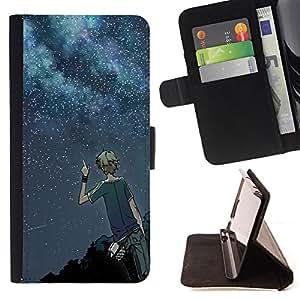 Devil Case- Estilo PU billetera de cuero del soporte del tir¨®n [solapa de cierre] Cubierta FOR Samsung Galaxy S5 V SM-G900 G9009 G9008V- Moon stars