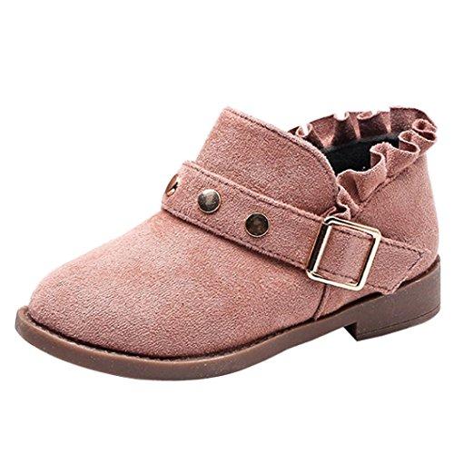 Upxiang Mode Jungen Mädchen Martin Sneaker Kinder Nieten Martin Stiefel Kinder Winter Dicke Schneeschuhe Baby Freizeitschuhe Kurze Stiefel Rosa