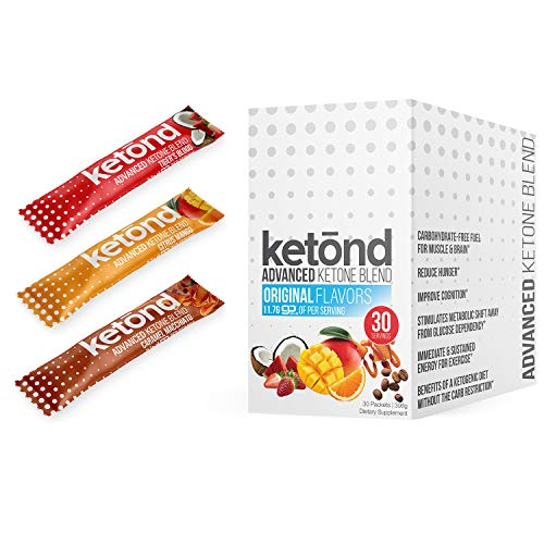 Ketond Advanced Ketone Supplement - 30 On the Go Packs - Exogenous Ketone Supplement 11.7g of BHB Salts to Lose Weight, Increase Energy & Focus (Citrus Mango, Tigers Blood, Caramel Macchiato)