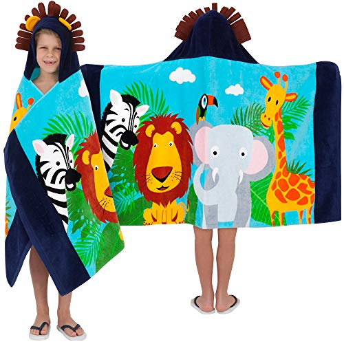 Dress Up As Animals (Yayme! Kids Jungle Animal Hooded Towel for Toddlers | Cotton Robe Perfect Beach Cover-up | Lion Costume for Boys | Toddler Towels | Poncho with a Hood Used as a)