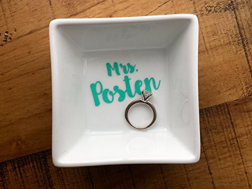 Script Name Earrings - Custom Name Ring Dish - Personalized Engagement Gift - Newly Engaged - Mrs. Jewelry Holder