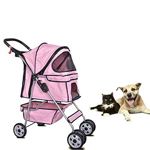 Cheap Dkeli 4 Wheels Pet Stroller Cat Dog Cage Stroller Travel Folding Carrier 2 Color (Pink)