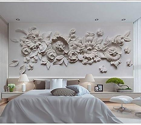 Wh-Porp 3D Große Wandbild Gips Relief Blume 3D Tapete ...