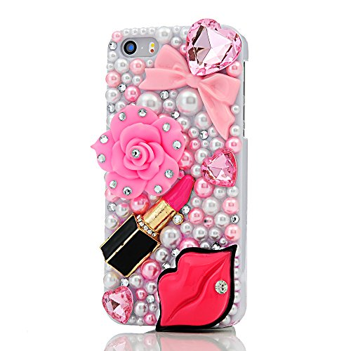 iPhone SE Case,iPhone 5S/5 Case - Mavis's Diary 3D Handmade Bling Crystal Red Lips Lipstick Pink Heart Bow Pearls Diamonds Hard White Cover