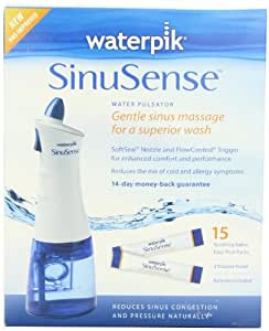 Waterpik SWI 615 Sinusense Water Pulsator Includes 15 Soothing Saline Packs With Aloe Vera and Eucalyptus, Blue/white