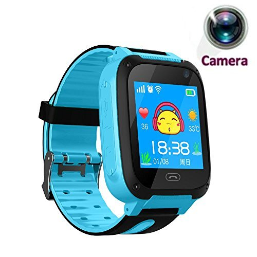 TKSTAR Smartwatch with Camera for Elderly/Kids/Men/Women/Teens,Anti-Lost SOS APGS/LBS Camera Wrist Watch Pedometer,Timer Watch Activity Tracker Safety Monitor for iPhone,Android (Blue)