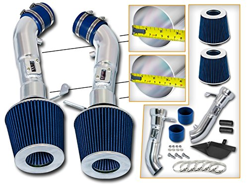 Cold Air Intake System with Heat Shield Kit + Filter Combo BLUE for 08-13 Infiniti G37 3.7L V6 / 09-14 Nissan 370Z