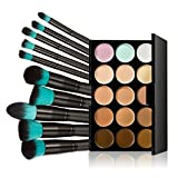 Chinatera 15 Colors Contour Face Cream Makeup Concealer Palette with 10pcs Makeup Brushes (Black+Blue) by Chinatera