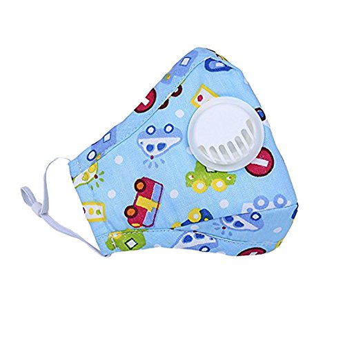 ZWZCYZ Child's Air Pollution Mask with Exhale Valves PM2.5 Cartoon Cute Anti-Dust Cotton Breathable Mouth Face Mask Suit For 4-15 Years Old (Blue car) Childrens Air