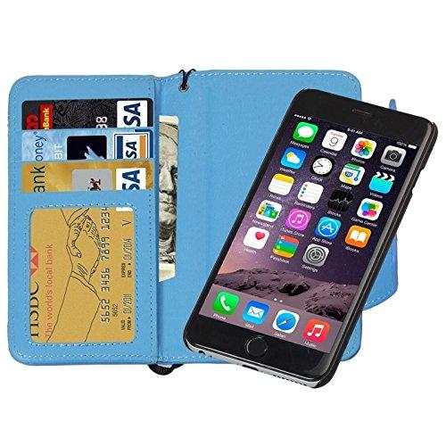 Phone Taschen & Schalen 2 in 1 Trennbare Wallet Style Magnetische Flip PU Ledertasche mit Lanyard für iPhone 6 Plus & 6S Plus ( Color : Blue )