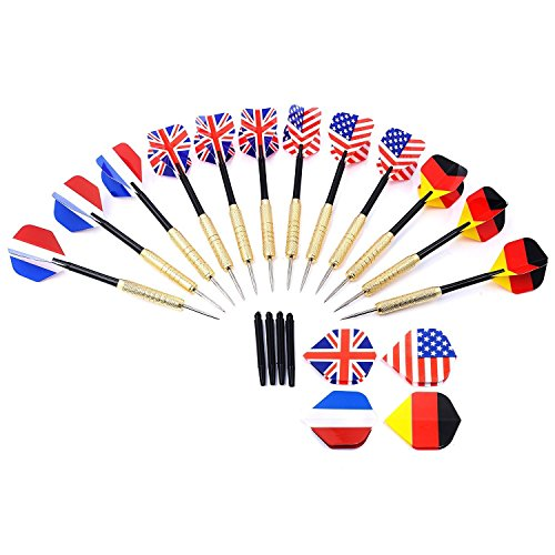 Amazon Lightning Deal 93% claimed: Darts, GWHOLE 12 Pcs Darts with National Flag Flights (4 Styles), Extra 4 Flights and 4 Shafts Included [One Year Warranty]