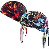 us helmet liner - YI HENG MEI Fire Skull Print Quick Dry Helmet Liner Cycling Sports Durag Head Wrap Bandana,Group 1(2pcs)
