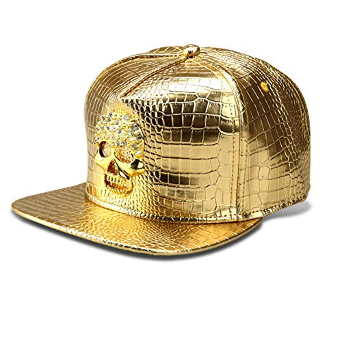 - WYKDA Pu Leather Skull Head Logo Baseball Caps Diamond Gold Crocodile Hip Hop Hats Men Women Gorras Dj Rap Snapback Hat