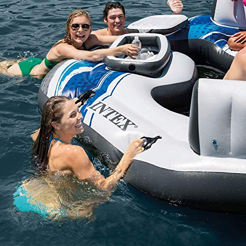 Intex Blue Tropical Island 5 Seat Floating Lounge Raft w/ 4 Cup Holders | 5727EP by Intex (Image #1)