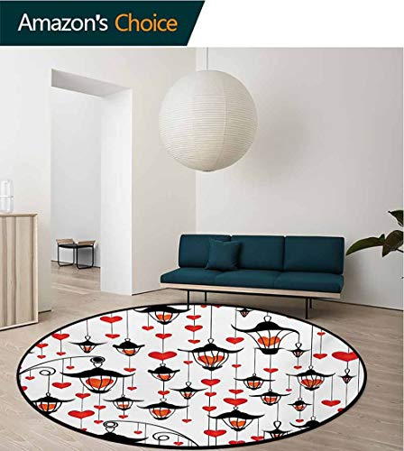 RUGSMAT Love Modern Washable Round Bath Mat,Lanterns and Heart for Valentines Day Small Lamp Classic Antique Non-Slip Bathroom Soft Floor Mat Home Decor,Round-71 Inch Vermillion Scarlet White Black