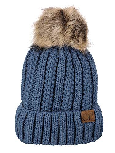 (C.C Thick Cable Knit Faux Fuzzy Fur Pom Fleece Lined Skull Cap Cuff Beanie, Dark Denim)