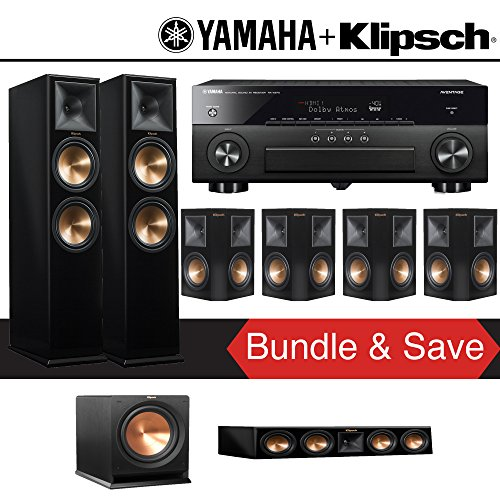 Klipsch RP-280F 7.1-Ch Reference Premiere Home Theater System (Piano Black) with Yamaha AVENTAGE RX-A870BL 7.2-Channel Network A/V Receiver