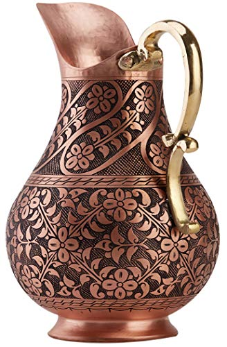 DEMMEX The Pitcher, 1mm Solid Copper Handmade Engraved Copper Pitcher Vessel Ayurveda Jug for Drinking Water, Moscow Mule, Cocktail (Matte-ArtWork) by DEMMEX (Image #1)