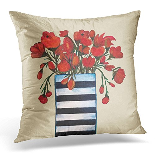 VANMI Throw Pillow Cover Stripes Chic Red Flowers with Striped Vase Fine Black Modern Decorative Pillow Case Home Decor Square 20x20 Inches Pillowcase
