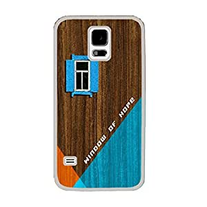 Personalized Wood Pattern Print Hard Cell Phone Case Protective Skin Cover for Samsung Galaxy S5 I9600,women Case Cover (geometric white ju5236) by icecream design