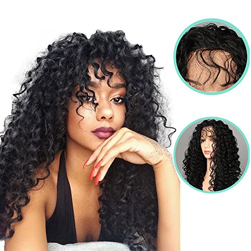 Figo & Donna Synthetic Wigs Black Natural Colour Heat Resistant Kinky Curly 150% Heat Resistant Fiber Kinky Curly Free Style 24