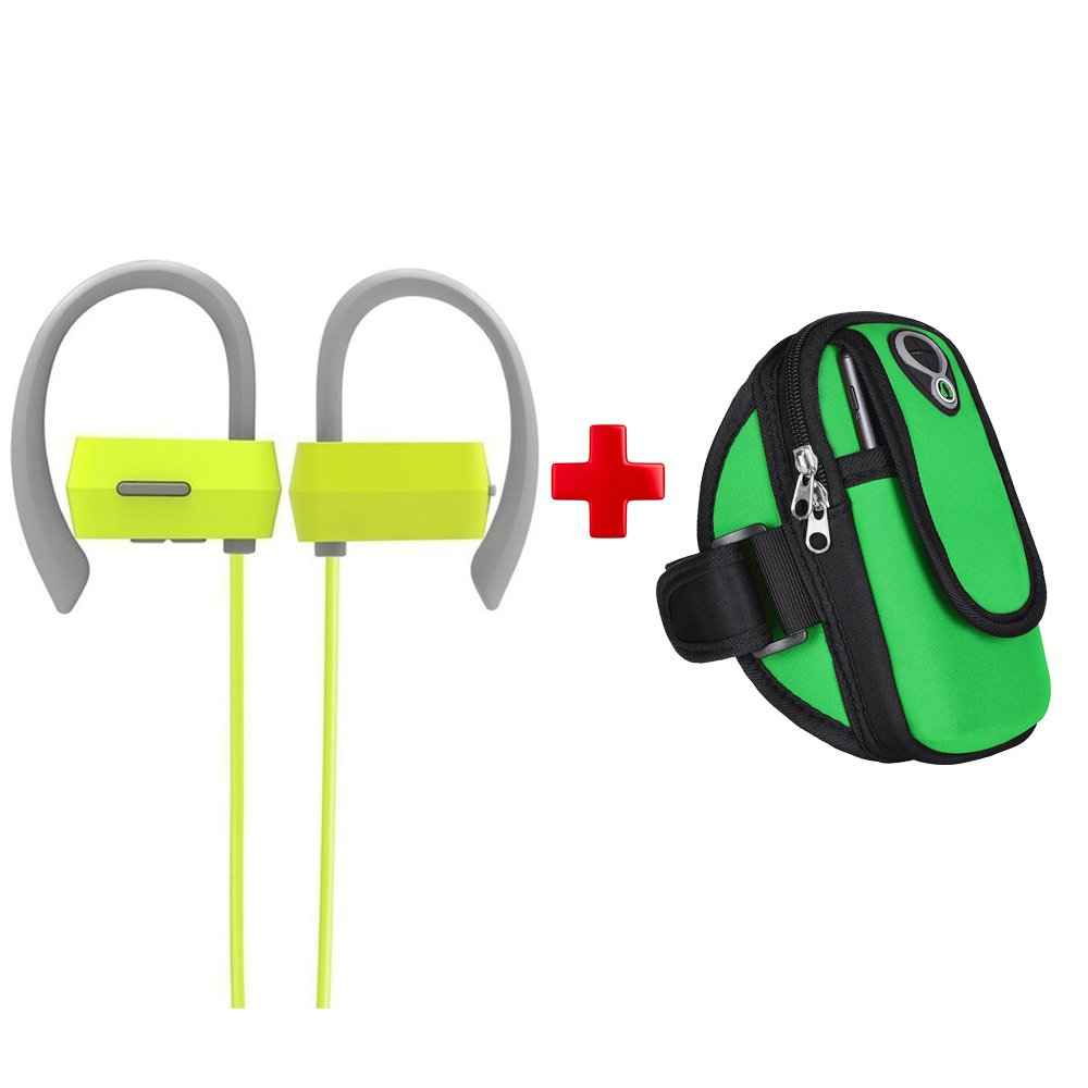 GranVela G18 Wireless Sweatproof Sports Earbuds+Sweatproof Sports Armband Combination, Bluetooth 4.1Earhook Headphones with CVC 6.0 Noise Canceling for Running Gym Exercise.