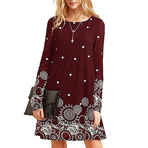 (Simayixx Tunic Dresses for Women, Fashion Casual Sundress Sexy Print Cold Shoulder A Line Dress Elegant Long Tops)