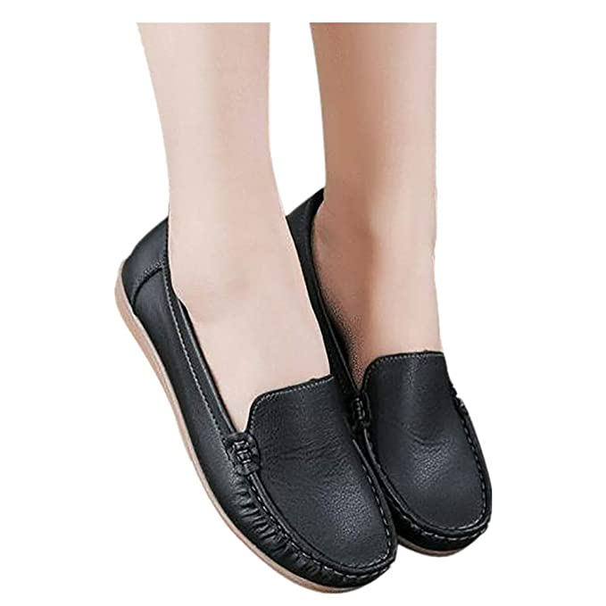 Womens Leather Flat Shoes Slip-ons Flats Driving Walking Moccasins Soft Sole Loafers (Black