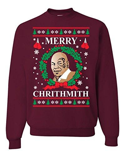 Wild Bobby Merry Chrithmith Mike Tyson Ugly Christmas Sweater Unisex Crewneck Sweatshirt, Maroon, X-Large (Merry Christmaas)