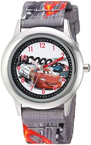Disney Boy's 'Cars' Quartz Stainless Steel and Nylon Casual Watch, Color:Grey (Model: WDS000026)