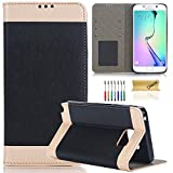 Galaxy S6 Edge Plus Case, Dteck(TM) Luxury Silk Design PU Leather Flip Stand [Magnetic Closure] Wallet Case Silicone Inner Shell Cover for Samsung Galaxy S6 Edge Plus (Black)