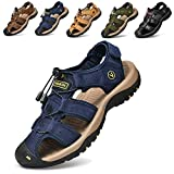todaysunny Men Sandals Closed Toe Walking Fastening Hiking Sport Shoes Leather Sandals Blue