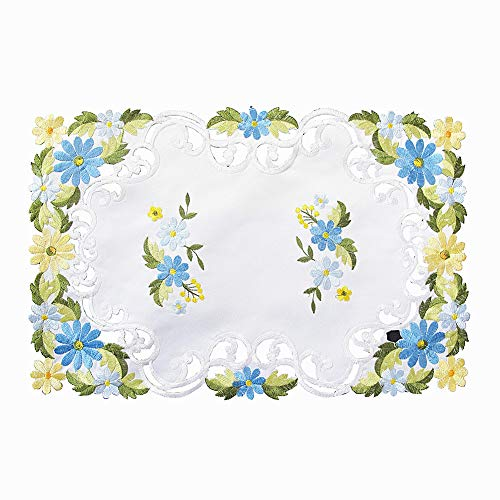 Bone & Tissue Embroidered Placemats, Set of 4 White Daisy Embroidery Fall Table Mats for Dining Decor, 12 x 18 Inch