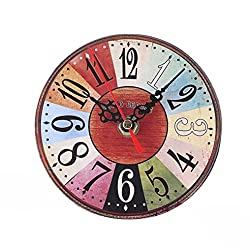 Elevin(TM)2017 New Vintage Style Non-Ticking Silent Antique Wood Wall Clock Decorative,Battery Operated Quartz Analog Quiet Wall Clock,For Home Kitchen,Office,Living Room,Bedroom (C)