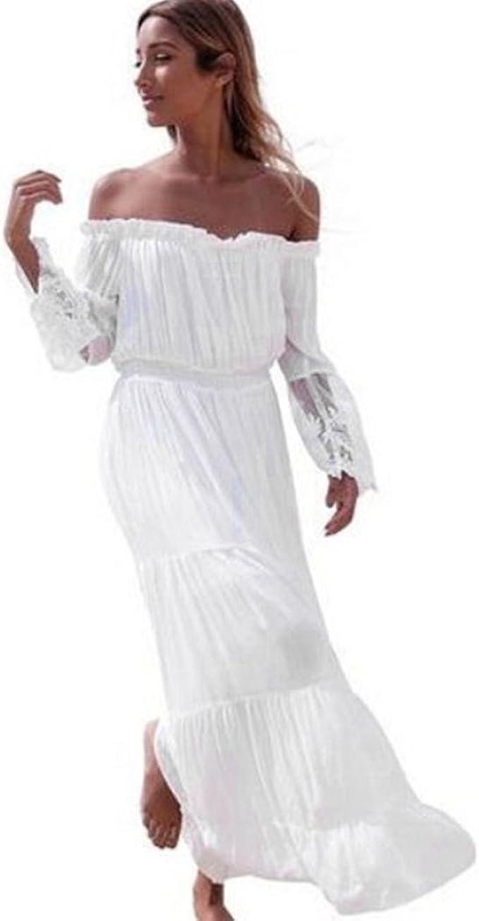 Ansenesna Kleid Damen Sommer Chiffon Lang Mit Langarm Elegant Strandkleid  Off Shoulder Rückenfrei Party Strand Sommerkleider Weiß