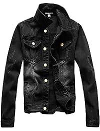 Men's Casual Denim Jacket Military Slim Fit Driver Button Coat