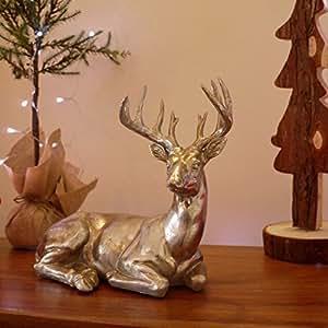 Garden Mile® Gran Majestic efecto plata ciervo reno hogar o jardín Animal Esculturas impresionante versátil resina adorno de jardín decoración de Navidad. 2estilos