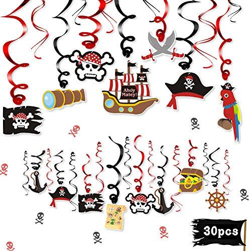 Halloween Prop Ideas (30CT Pirate Party Hanging Foil Swirls Decoration Kids Birthday Photo Props Adventure Ideas Ceiling Captain Hat Skull Treatures Parrot Cutouts Halloween Door Whirls Streamers Favor)