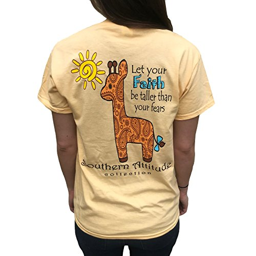 (Southern Attitude Let Your Faith Be Taller Than Your Fears Giraffe Yellow Women's T-Shirt (Large))
