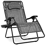 Best Choice Products Oversized Zero Gravity Outdoor Reclining Lounge Patio Chair w/Cup Holder - Gray
