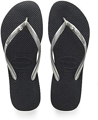 HAVAIANAS Genuine NEW Ladies Slim THONGS FLIP FLOPS SANDALS GRAPHITE GREY Logo