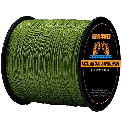 Milakoa Anglynn 100% PE 4 Strands Braided Fishing Line 500 M/547 Yd for Saltwater Freshwater 20lb 30lb 50lb 80lb 100lb