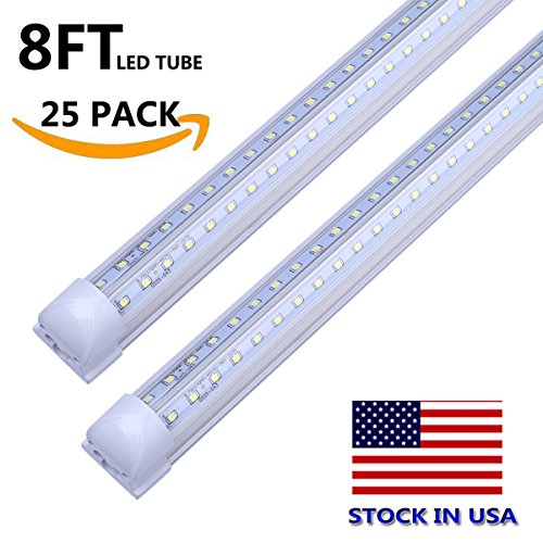 LEDs Tube Light, 8FT 72W (150W Fluorescent Equivalent), Double Side V Shape Integrated Bulb Lamp, Works without T8 Ballast, Plug and Play, Clear Lens Cover, Cold White 6000K - Pack of 25 Units (Star Key Cable Box)
