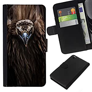 KingStore / Leather Etui en cuir / HTC DESIRE 816 / Plumes Nature Condor animale