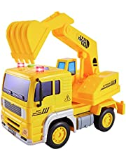 HERSITY Digger Toys Bouwvoertuigen met Lichten en Geluiden Graafmachines Vrachtwagen Auto Speelgoed Geschenken voor Kinderen Kids 3 4 5 Jaar Oude Jongens en Meisjes (1:20)