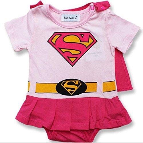 Tenue avec capuchon rose Supergirl. 6-9 Mois Inspiré par DC Comics