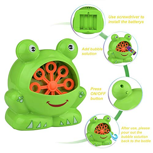 STARTluly(US warehouse,arrive in 1or2 weeks) Automatic Bubble Machine Blower Maker Party Outdoor Toy for Kids,The of The Frog Shape. It Blows Out More Than 500 Color Bubbles Every Minute. from STARTluly(US warehouse,arrive in 1or2 weeks)